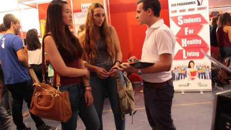 A Life Network member speaking to University students during Freshers'week 2015